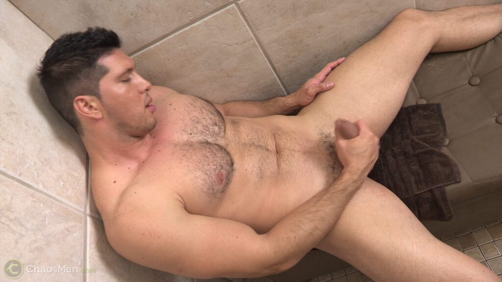Beefy And Hairy Guy Santiago Jerks Off In The Shower -8689