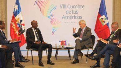 Jovenel Moïse et Sebastian Pinera président du Chili se sont rencontrés à Lima 14 avril dernier. Photo Président Jovenel Moïse Twitter2