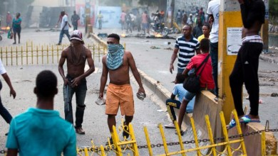 Demonstrators protest over the cost of fuel in Port au Prince Haiti Friday July 6 2018.