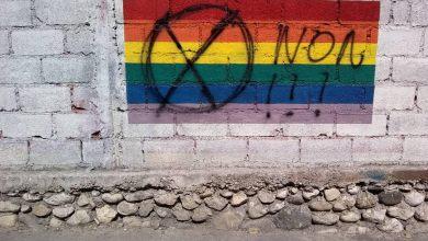 Lun des drapeaux placé sur un mur a la rue Alix Roy Turgeau