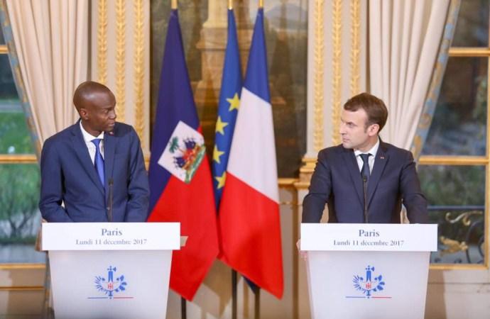 Au Palais de l'Elysée, Jovenel Moïse et Emmanuel Macron parlent coopération