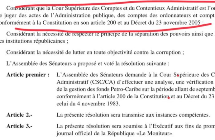 Petrocaribe: pas d'avenir pour le rapport, le Sénat l'a totalement rejeté