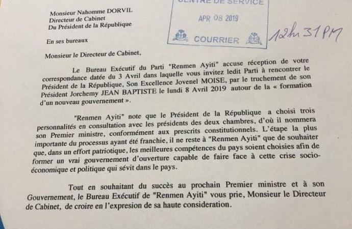 Dialogue inter-haïtien: Renmen Ayiti nie une invitation de Jovenel Moïse
