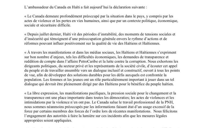 Haïti-Crise: inquiet, le Canada appelle les Haïtiens au dialogue