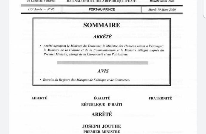 Nouvelles nomination au sein du gouvernement de Joseph Jouthe