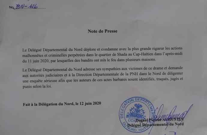 Cap-Haïtien: Incendie de maisons, la délégation départementale du Nord s'insurge