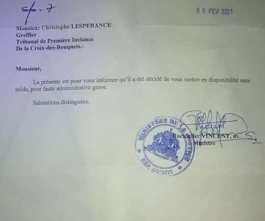 Ordonnance de libération du juge Dabrezile : le greffier Christophe Lespérance mis en disponibilité