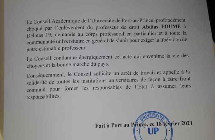 Enlèvement d'Abdias Édumé : l'UP sollicite un arrêt de travail, appelle à la solidarité de toutes les Universités