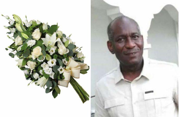 Assassinat du docteur Ernst Pady, des médecins déposent des gerbes de fleurs devant sa clinique