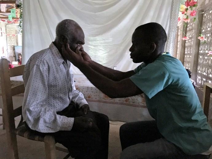 Dr. Cherubin examines patient