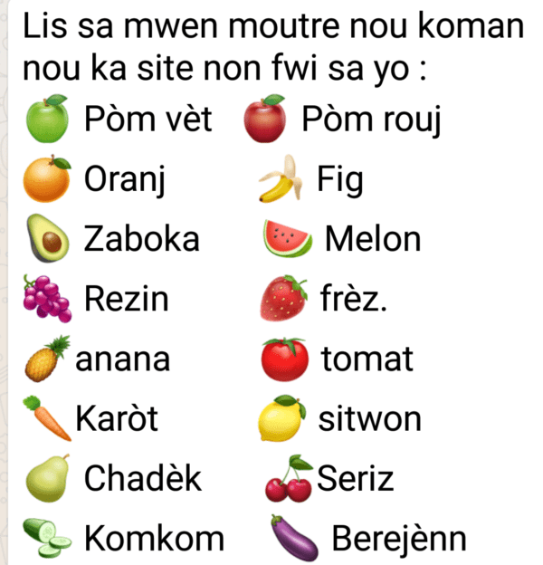 Common Fruit names in Creole