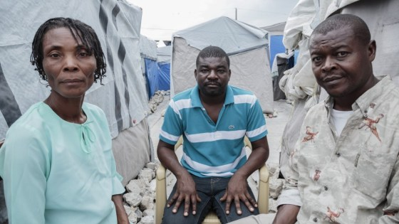 Jackson Doliscar organizing earthquake-displaced people to claim their right to housing. His work almost cost him his life. Photo: Ed Kashi, American Jewish World Service