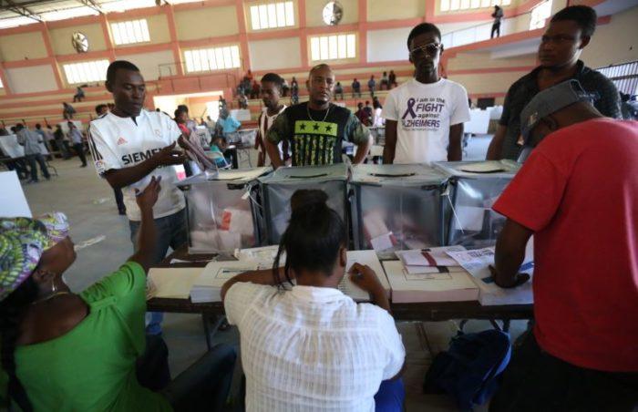 Haitians voting