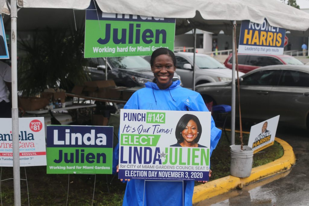 At Miami Gardens voting station, council candidate takes direct outreach to new level