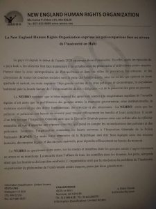 Haïti–Insécurité: résurgence de l'insécurité, New England Human Rights s'inquiète 2