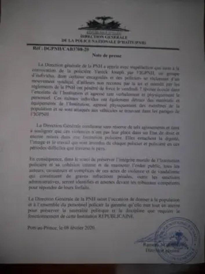 Affaire Yanick Joseph : la PNH entend poursuivre les policiers protestataires 2