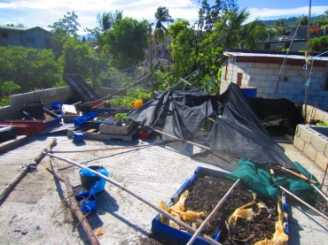shade cloth and bamboo recovered