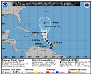 Formation d'une nouvelle tempête tropicale dans l'Atlantique appelée Karen 1
