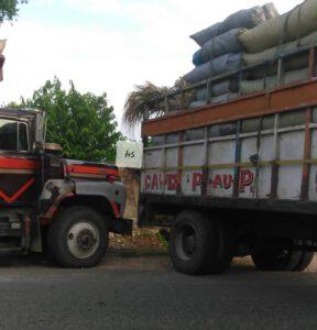 """Protestation : la Route nationale # 2 est bloquée dans la localité appelée """"Chalon"""" (Nippes) 1"""
