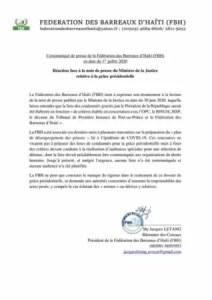La Fédération des barreaux d'Haïti se démarque de la note du MJSP sur la grâce présidentielle