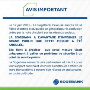 Annulation de la mesure prise par la Sogebank relative aux frais sur les dépôts en dollars américains