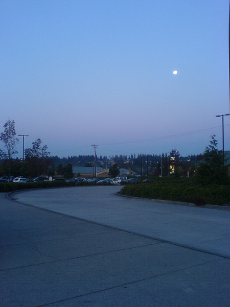 Morning Moon at the Ash Way Park & Ride