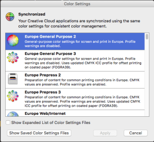 Colour Settings in Adobe Bridge