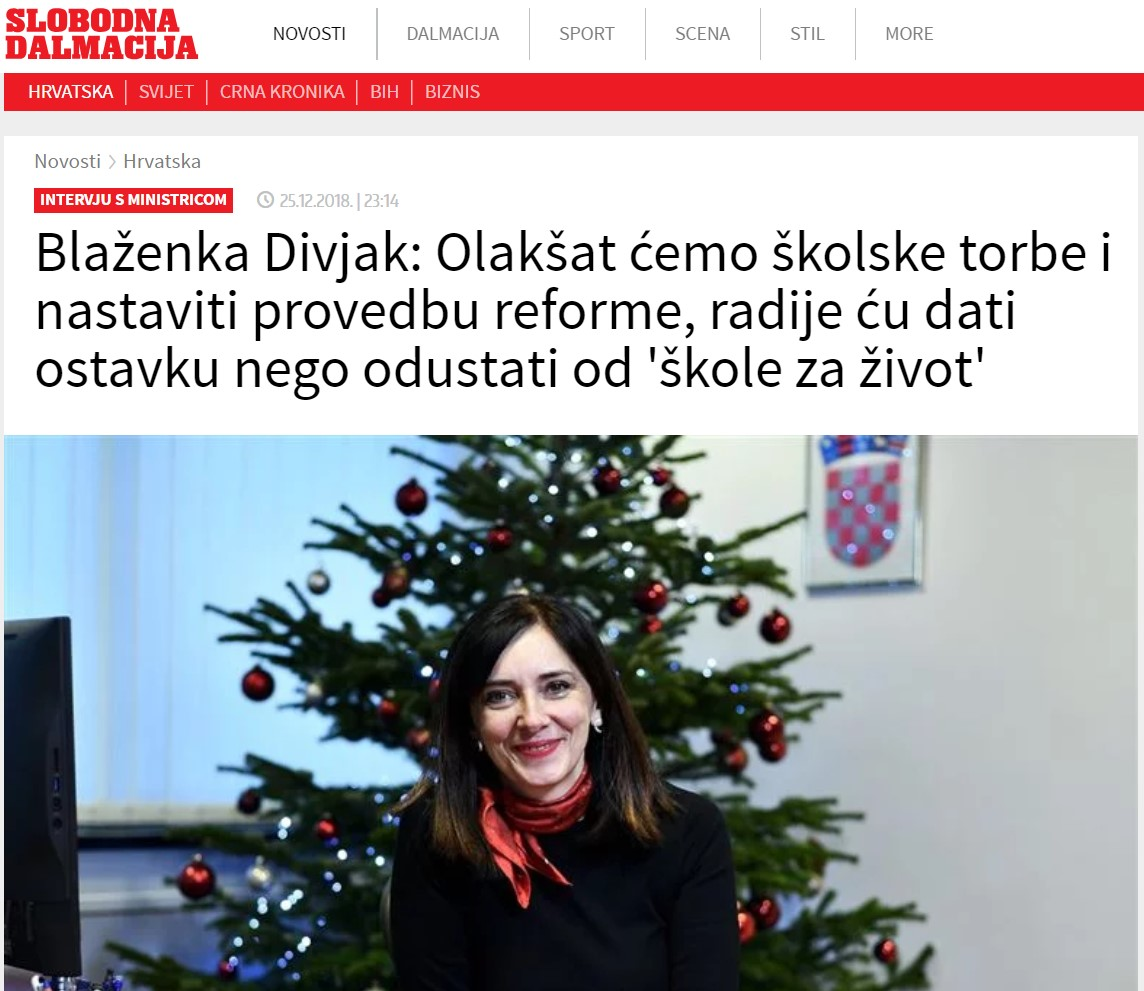 Komentar razgovora mistrice Divjak u Slobodnoj Dalmaciji
