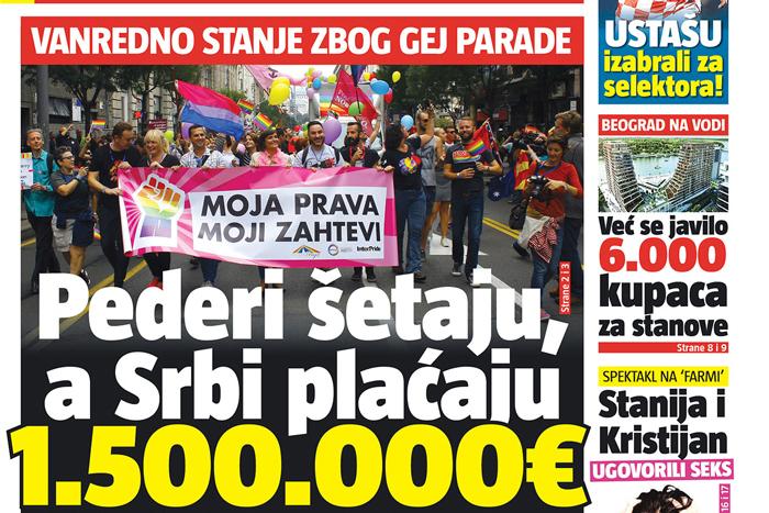 gay pride 2015 serbia homophobia media tabloid 2