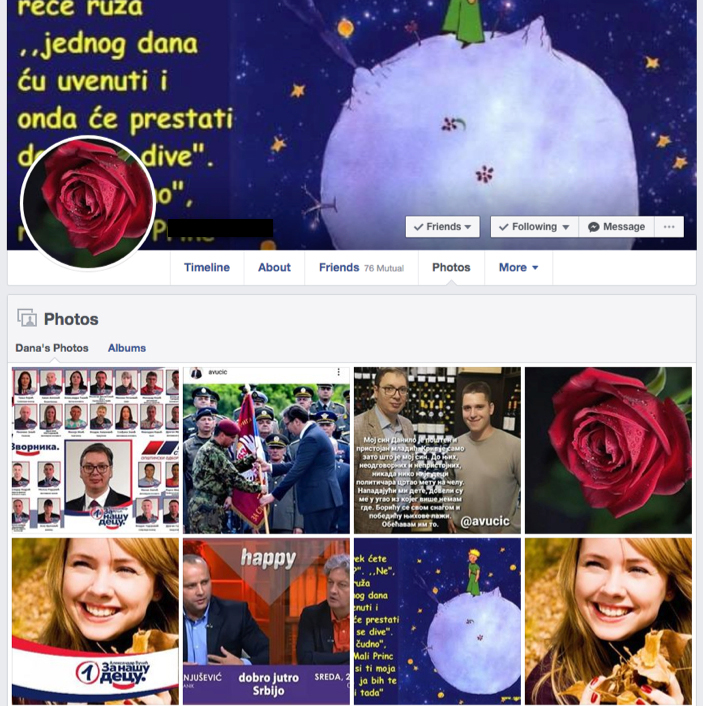 faux profil fake facebook vucic sns serbie bot