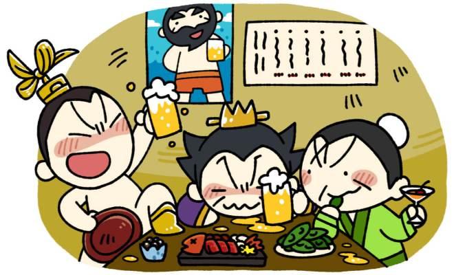 酒を飲む曹操と劉備と呂布