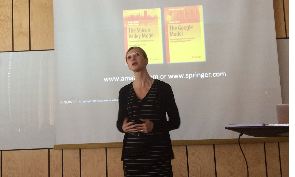 Dr. Annika Steiber presenting the model from the book.