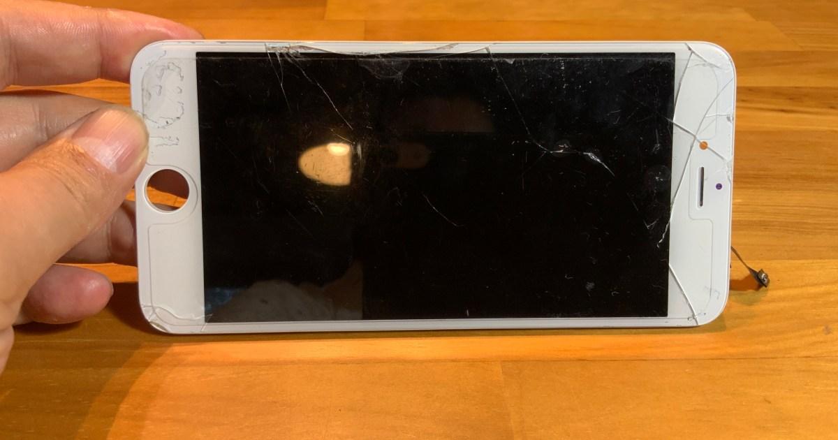 バキバキのiPhone6sプラス画面割れ修理