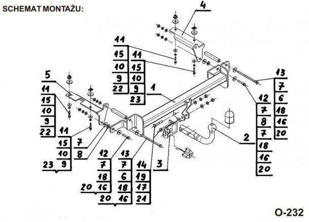 Montaż haka holowniczego z kulą odkręcaną Opel Zafira B