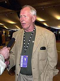 "UTAH BEACH - Stephen Ambrose, writer of the book, ""Band of Brothers"", during an interview at Normandy. The interview took place in a temporary structure built for HBO's ""most ambitious premiere ever staged."" Photo: Arthur McQueen, USAREUR PAO"
