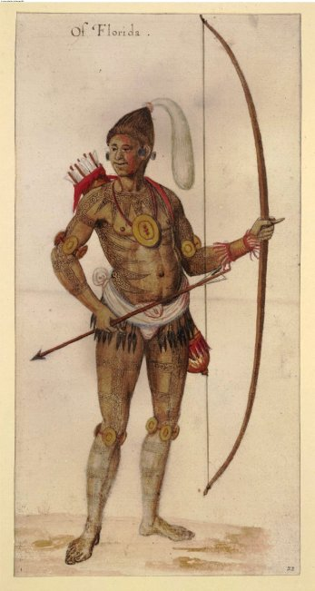 John White, painting of a Timucua Indian man. Watercolour, ca. 1585-1593. © Trustees of the British Museum.