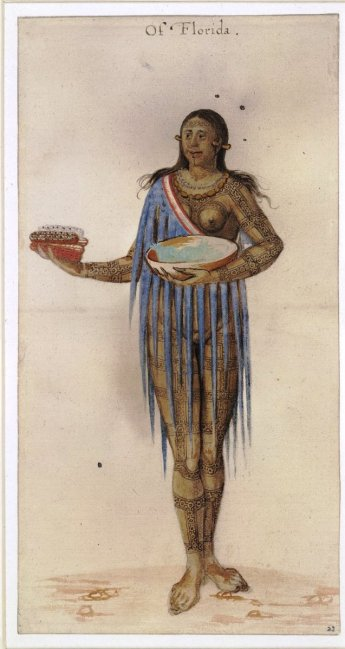 John White, painting of a Timucua Indian woman. Watercolour, ca. 1585-1593. © Trustees of the British Museum.