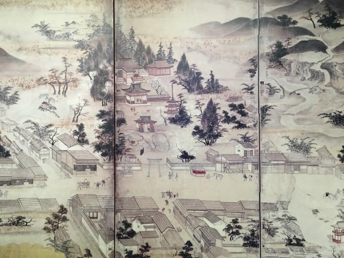 Early 19C Mishima Taisha with Tokaido in foreground