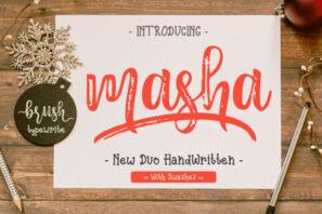 Masha // Duo Handlettered Fonts