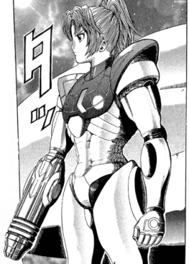Samus without her helmet.