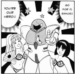"Samus appearing as a ""man"" in the 1986 manga."