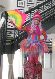 Hala on stilts performer entertainer stiltwalker pink rainbow circus Markham Toronto GTA Nov 2016