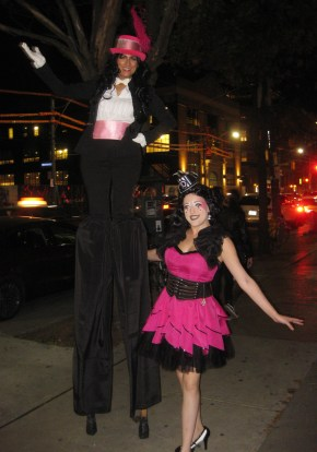 Hala on Stilts with Bella Oct 2016 pink tuxedo stiltwalker Toronto