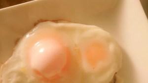 冷凍卵の双子目玉焼き