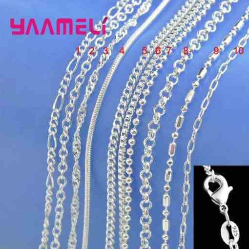 Big Promotion! 100% Authentic 925 Sterling Silver Chain Necklace with Lobster Clasps fit Men Women Pendant 10 Designs 16-30 Inch Artificial Jewellery Necklaces