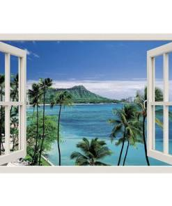 Free shipping TROPICL BEACH Window 3D Wall Decal Art waterproof Removable Wallpaper Forest Mural Sticker Vinyl Home Decor Home, Pets and Appliances