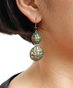 Green Bronze Fabric Shape Earrings Antique Rustic Textured Bohemian grampos Drop Earrings Brincos Para As Mulheres Artificial Jewellery Earrings