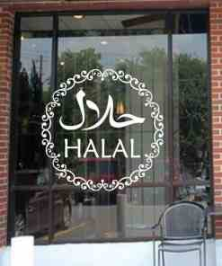 Halal Wall Stickers Islamic Shop Sign Vinyl Sticker Window Decals Removable Self Adhesive Kitchen Decor Murals G671 Home, Pets and Appliances Islamic decoration
