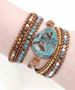 Unique Mixed Natural Stones Gilded Stone Charm 5 Strands Wrap Bracelets Handmade Boho Bracelet Women Leather Bracelet Dropship Artificial Jewellery Bracelets Women