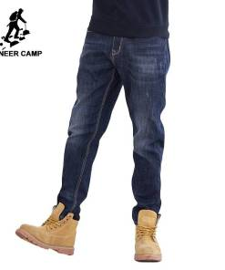 Pioneer Camp thick fleece warm jean men brand clothing autumn winter black denim pants male quality solid trousers ANZ710001 Men Men's Bottoms Men's Clothings Men's Jeans